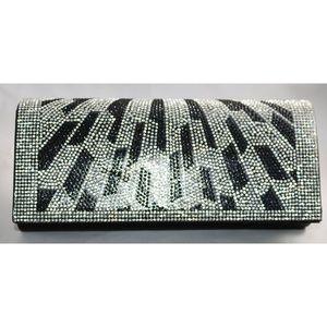 Ladies black clutch bag with rhinestones